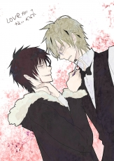 Shizuo Heiwajima, Izaya Orihara, Scar, Smile, Grin, Male, Short Hair, Sunglasses, Bow Tie, Glasses, Two Males, Blood, Bows (Fashion), Duo, Gold Eyes, Red Eyes, Tie, Durarara!!, Blonde Hair, Black Hair, Angry