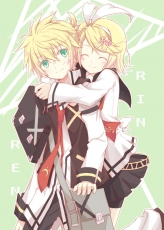 Happy, Kagamine Len, Kagamine Rin, Smile, Vocaloid, School Uniform, Twins, Kagamine Twins, Family, Male, Closed Eyes, Green Eyes, Hug, Siblings, Female, Skirt, Hug From Behind, Uniform, Duo, Blonde Hair, Bag