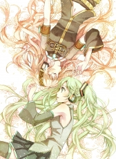 Luka Megurine, Vocaloid, Yun (Snoopy), Female, Pink Hair, Laying Down, Long Hair, Two Girls, Duo, Hatsune Miku, Twin Tails