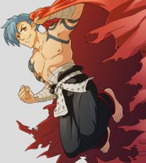 Shirtless, Spiky Hair, Barefoot, Fist, Simple Background, Grin, Jumping, Short Hair, Bandages, Red Eyes, Cape, Tattoo, Male, Blue Hair, Kamina, Tengen Toppa Gurren Lagann