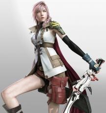 Femme Fatale, Pink Hair, Final Fantasy XIII, Blue Eyes, Thighs, Shorts, Éclair Farron, Lightning