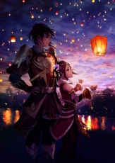 Lanterns, Night, Couple