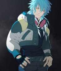 Belt, Black Background, Blue Hair, DRAMAtical Murder, Expressionless, Fingerless Gloves, Gloves, Hands In Pockets, Headphones, Jacket, Jeans, Long Hair, Male, Official Art, Aoba Seragaki, Standing, T-shirt, Yellow Eyes