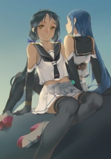 Blue Hair, Elbow Gloves, Gloves, Kantai Collection, Long Hair, School Uniform, Sitting, Skirt, Sweat, Yellow Eyes