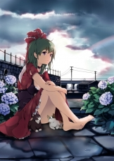 Barefoot, Blush, Bow, Breasts, Brown Hair, Building, Cat, Choker, Dress, Flower, Frills, Green Eyes, Green Hair, Hair Bow, Hair Ornament, Hair Ribbon, House, Hydrangea, Kagiyama Hina, Leaf, Long Hair, Rain, Ribbon, Sitting, Sky, Smile, Solo, Touhou, Wall