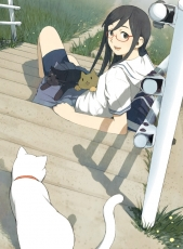 Bike Shorts, Black Hair, Glasses, Grass, Green Eyes, Happy, Original, School Uniform, Sitting, Skirt, Solo, Stairs, Cats