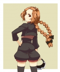 Black Legwear, Brown Eyes, Enri, Fractale, Freckles, Frown, Hair Ornament, Hand On Hip, Looking Back, Orange Hair, Simple Background, Solo, Topknot, Twin Braids, Goggles