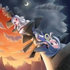 Blue Eyes, Blue Hair, Blush, Day, Demon Girl, Dress, Horns, Long Hair, Moon, Night, Nippon Ichi, Phantom Kingdom, Pointy Ears, Red Eyes, Shackles, Sky, Stairs, White hair, Wings