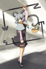 Basket, Capelet, Grey Hair, Jewelry, Mouse, Nazrin, Red Eyes, Short Hair, Smile, Standing, Tail, Touhou, Pendant