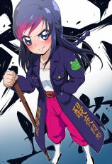 Blue Eyes, Blue Hair, Blush, Coat, Delinquent, Dokidoki! Precure, Grin, Hand In Pocket, Rikka Hishikawa, Long Hair, Pants, Pink Hair, Smile, Socks, Solo, Sword, Weapon, Wooden Sword