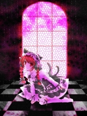Cat Ears, Cat Tail, Checkered, Checkered Floor, Gothic Lolita, Hair Ribbon, Kaenbyou Rin, Kneeling, Lolita Fashion, Multiple Tails, Red Eyes, Red Hair, Redhead, Ribbon, Short Hair, Smile, Solo, Tail, Touhou, Traditional Media, Twin Braids, Window
