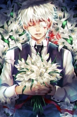 Kaneki Ken, Tokyo Ghoul, White hair, Flowers, White Flower, Death, Flowerbed, Funeral, Blood, Eyepatch, Formal Outfit
