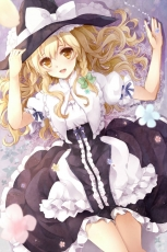 Touha Project, Touhou, Witch Hat, Blonde Hair, Flowers