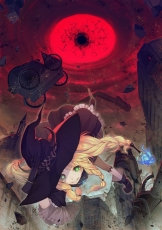 Touha Project, Touhou, Witch Hat, Blonde Hair, Dark Background, Red Moon