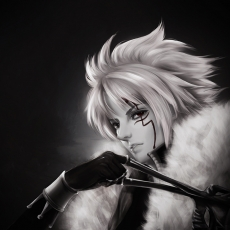 Allen Walker, D.Gray-man, Black And White, Red Eyes, Realistic