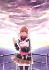 Danganronpa 3: The End of Kibougamine Gakuen - Zetsubou-hen, Danganronpa The Animation, Chiaki Nanami, Dolls, Cloud, Uniform, Pink Hair, Waving, Hoodie, Red Ribbon
