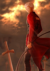 Fate Stay Night - Unlimited Blade Works, Fate/stay night, Archer, Emiya Shirou, Sword, Bow (weapon), Silver hair, Clouds