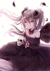 Horns, Black Wings, Skull, White Background, Bandages, Feathers, Gray Hair, Pointy Ears, Piercing, Pendant, Crown