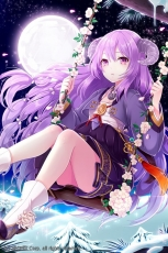 Horns, Purple Hair, Full Moon, Snow