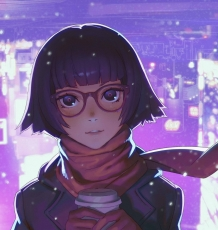 Ilya Kuvshinov, Scarf, Cup, Gloves, Glasses, Short Hair, Purple Eyes