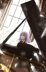 Kanade Tachibana, Angel Beats!, Silver hair, Grand Piano, Wings, Feather, Feather Wings, Indoors, Uniform