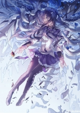 Puella Magi Madoka Magica, Girl, Long Hair, Solo, Female, Homura Akemi, Skirt, Ribbon, Mahou Shoujo Madoka Magica, Puella Magi Oriko Magica, Long Sleeves, Closed Eyes, Looking To Side, Skeletons, Purple Hair, Violet Hair, One Girl, Shoeless