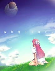 Shelter, Rin, Sky, Clouds, Pink Hair, White Dress, White Ribbon, Sea, Grass, Back, Girl