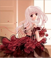 Sad, Girl, Female, Solo, Red Eyes, Long Hair, Dress, Red Dress