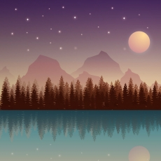 Night, Mountains, Forest, Water, Full Moon, Stars, Scenery, Sky, Silhouette
