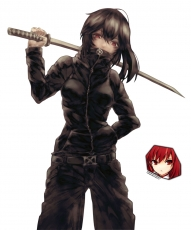 Sword, Black Outfit, White Background, Red Eyes