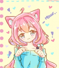 #, Blue Eyes, Pink Hair, Cat Ears, Blue Shirt, Pigtails