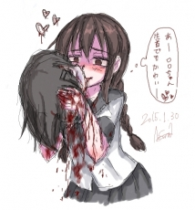 #, Blood, Uniform, Yandere, Head, Brown Eyes, Brown Hair