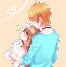 Couple, Cute, Kiss On Forehead, Hug, Anime
