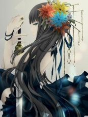 Girl, Female, Black Hair, Long Hair, Ponytail, Flowers, Hair Clip, Sword, Weapon, Weapons, Bare Shoulders, Knee High Socks, Bracelet, Jewelery, Looking To Side, Dress, Solo, White Background, Black Dress, Holding Weapon, Holding Something, Back, Hair Flower, Hair Ornament, Side View
