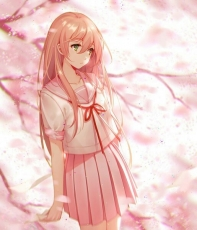 Girl, Female, School Uniform, School Uniforms, Schoolgirl, Long Hair, Heterochromia, Multi-colored Eyes, Flowers, Pink Flower, Pink Flower Petals, Pink Flower Petal, Original Character, Skirt, Short Sleeves, Solo, One Girl, Tree, Looking To Side, Pink Background, Holding Letter, Pink Hair